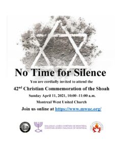 No Time for Silence - Shoah Commemoration poster