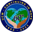 Pin - UCW - Continuing in Hope - 1962-2022 - two hands of different colours holding a heart-shaped globe